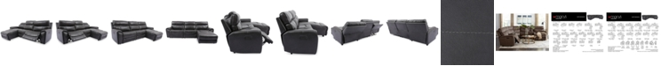 Furniture Hutchenson 3-Pc. Leather Chaise Sectional with Power Recliner and Power Headrest