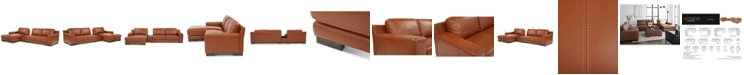 Furniture Darrium 3-Pc. Leather Chaise Sofa with Console, Created for Macy's