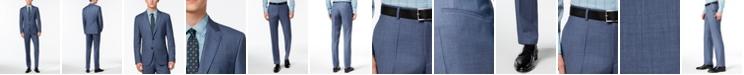 Hugo Boss HUGO Men's Modern-Fit Medium Blue Textured Suit