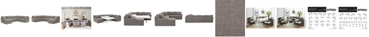 Furniture Wedport 5-Pc. Fabric Modular Chaise Sleeper Sectional Sofa with Square Corner Piece, Created for Macy's