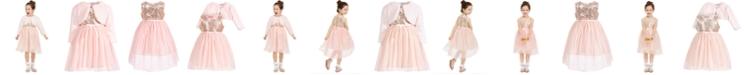 Blueberi Boulevard Little Girls Sequined Glitter Dress & Faux-Fur Shrug