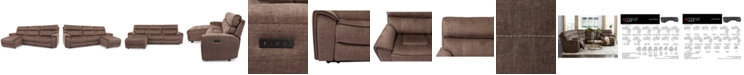 Furniture Hutchenson 3-Pc. Fabric Chaise Sectional with Power Recliner and Power Headrest