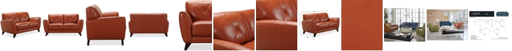 "Furniture Myia 62"" Leather Loveseat, Created for Macy's"