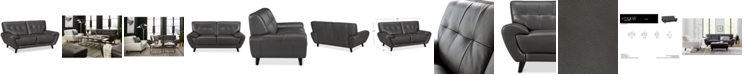 """Furniture Lanz 65"""" Leather Loveseat, Created for Macy's"""