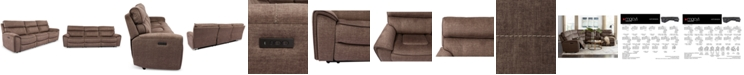 Furniture Hutchenson 3-Pc. Fabric Sectional with 2 Power Recliners and Power Headrests