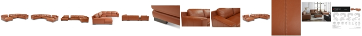 Furniture Darrium 5-Pc. Leather Chaise Sectional with Console, Created for Macy's