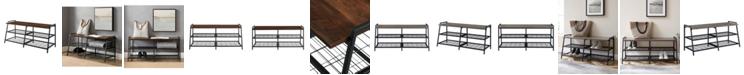 Walker Edison Industrial Metal Wood Entry Bench