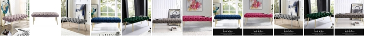 Nicole Miller Claude Velvet Button Tufted Bench with Metal Legs