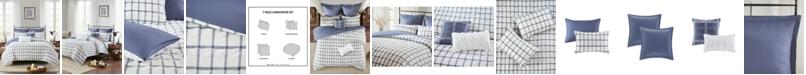 Madison Park CLOSEOUT! Kinney Full/Queen 7-Pc. Yarn Dye Polyester Seersucker Comforter Set
