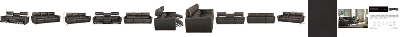 """Furniture CLOSEOUT! Fanna 96"""" 3-Pc. Leather Sofa Sectional with 2 Power Recliners and Articulating Headrest, Created for Macy's"""