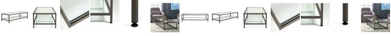 Clickhere2shop Camber Collection Rectangle Coffee Table - Pewter/Clear Glass