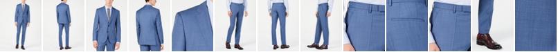 Hugo Boss Men's Modern-Fit Medium Blue Micro-Grid Suit Separates