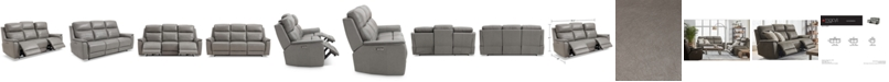 """Furniture CLOSEOUT! Goodwick 83.5"""" Leather Dual Power Motion Sofa, Created for Macy's"""
