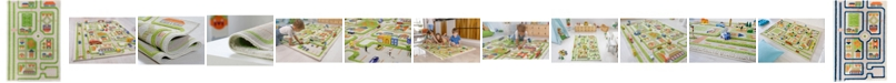 """IVI Traffic 3D Childrens Play Mat & Rug in A Colorful Town Design with Soccer Field, Car Park&Roads, 59""""L x 39""""W"""