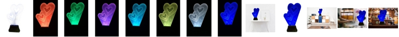 Creative Motion Battery-Operated 3D Twin Heart Laser Engraved Acrylic Lamp