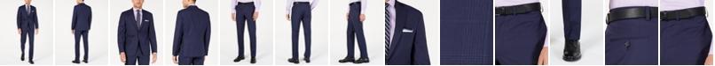 DKNY Men's Modern-Fit Indigo Plaid Suit Separates
