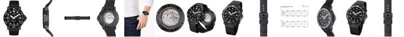 Tissot Men's Swiss Automatic SeaStar Black Rubber Strap Diver Watch 43mm