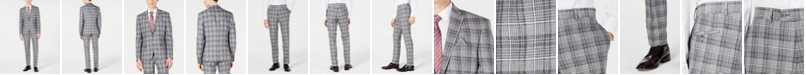 Bar III Men's Slim-Fit Linen Gray Plaid Suit Separates, Created for Macy's
