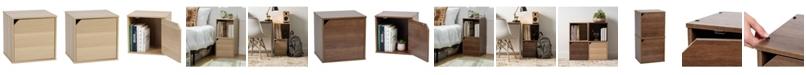 IRIS USA Baku Modular Wood Cube Box With Door
