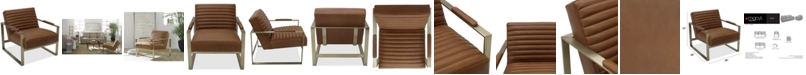 Furniture Elmie Leather & Brass Accent Chair, Created for Macy's