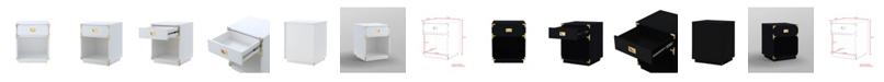 INSPIRED HOME Calixta Single Drawer with Shelf High Gloss Nightstand