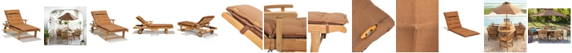 Furniture Bristol Teak Outdoor Chaise Lounge, Created for Macy's