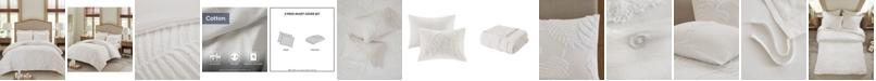 Madison Park Bahari Full/Queen 3-Pc. Tufted Cotton Chenille Palm Duvet Cover Set