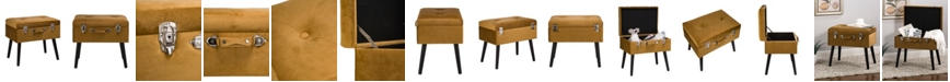 """Glitzhome 19.7"""" L Velvet Upholstered Storage Stool with Black Solid Rubberwood Legs"""