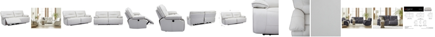 """Furniture CLOSEOUT! Mantella 83"""" Leather Sofa With Power Recliners And USB Power Outlet"""