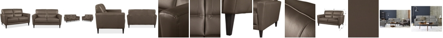 """Furniture CLOSEOUT! Tosella 55"""" Leather Loveseat, Created for Macy's"""