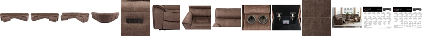 Furniture Hutchenson 7-Pc. Fabric Chaise Sectional with 3 Power Recliners and 2 Consoles