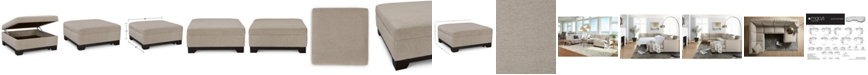 "Furniture Elliot II 36"" Fabric Square Storage Ottoman, Created for Macy's"
