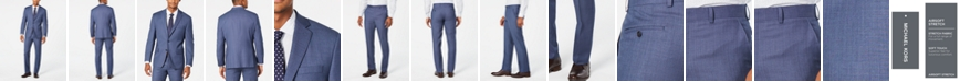 Michael Kors Men's Classic-Fit Airsoft Stretch Light Blue/Navy Birdseye Suit Separates