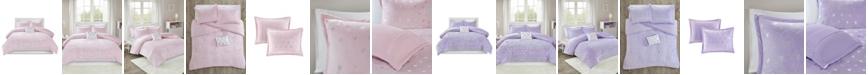 JLA Home Mi Zone Rosalie Full/Queen 4 Piece Metallic Heart Printed Comforter Set