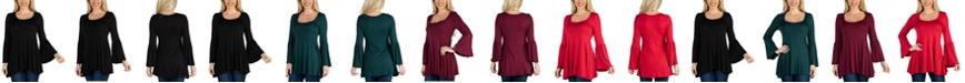 24seven Comfort Apparel Women Scoop Neck Bell Sleeve Swing Tunic Top