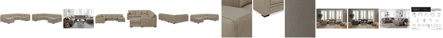 Furniture Avenell 3-Pc. Leather Sectional with Chaise, Created for Macy's