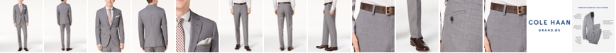Cole Haan Men's Grand.OS Wearable Technology Slim-Fit Stretch Light Gray Solid Suit Separates