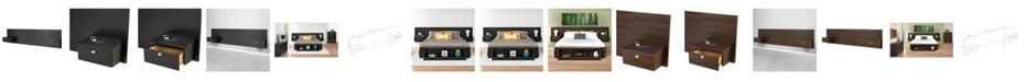 Prepac Series 9 Designer Floating King Headboard with Nightstands