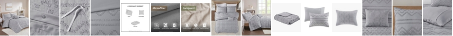 Intelligent Design Annie 4 Piece Full/Queen Solid Clipped Jacquard Duvet Cover Set