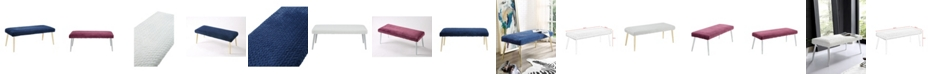 INSPIRED HOME Lamonte Faux Fur Leaf Textured Bench with Metal Legs