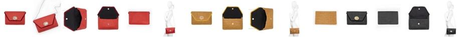 La Regale Faux Rattan Envelope Clutch with Stone Medallion