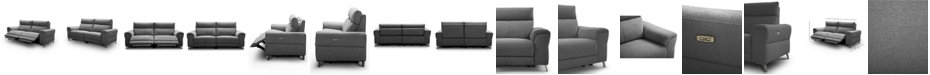 """Furniture CLOSEOUT! Raymere 86"""" 2-Pc. Fabric Sofa with 2 Power Motion & Power Headrests"""