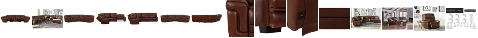 """Furniture CLOSEOUT! Myars 5-Pc. """"L"""" Shaped Leather Sectional Sofa With 2 Power Recliners, Power Headrests And USB Power Outlet, Created for Macy's"""