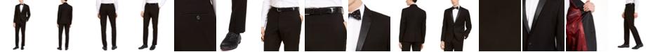 Billy London Men's Slim-Fit Performance Stretch Black Tonal Houndstooth Tuxedo