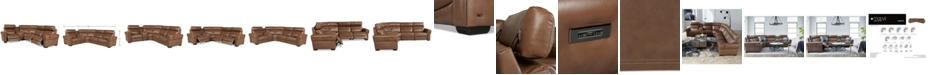Furniture Josephia 5-Pc. Leather Sectional with 3 Power Recliners and Console, Created For Macy's