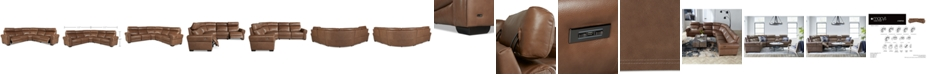 Furniture Josephia 5-Pc. Leather Sectional with 2 Power Recliners, Created For Macy's