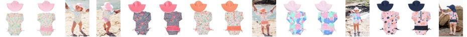 RuggedButts RuffleButts Toddler Girls Long Sleeve Rash Guard Swimsuit Swim Hat Set