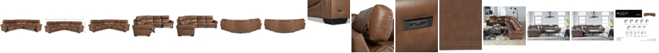 Furniture Josephia 5-Pc. Leather Sectional with 3 Power Recliners, Created for Macy's