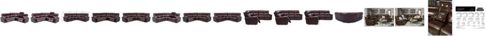 Furniture Oaklyn 5-Pc. Leather Sectional Sofa with 3 Power Motion Recliners & 1 Drop Down Table
