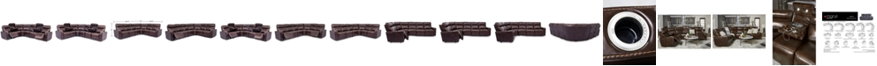 Furniture Oaklyn 6-Pc. Leather Sectional with 2 Power Motion Recliners & 2 Drop Down Tables